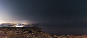 Majjistral Point. The beautiful night sky as seen from Majjistral Point in Malta royalty free stock images