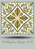 Majolica ceramic tile in nostalgic ocher and olive green design with white glaze. Portuguese classic ceramic faience. Traditional vintage spanish pottery with Royalty Free Stock Photos