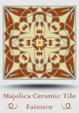 Majolica ceramic tile. Vintage ceramic majolica. Traditional glaze pottery product with multicolored symmetric spanish. Ornament in beige, olive green and red royalty free illustration
