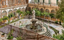 The majolica cloister with fountain in courtyard of the Santa Caterina church, Palermo, Sicily Stock Photo