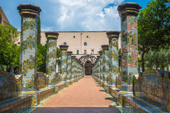 Majolica cloister in Santa Chiara complex, Naples, Italy Royalty Free Stock Photos