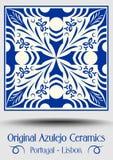 Majolica pottery tile, blue and white azulejo, original traditional Portuguese and Spain decor. Vector EPS 10 stock illustration