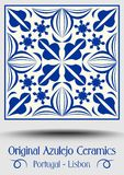 Majolica pottery tile, blue and white azulejo, original traditional Portuguese and Spain decor. Vector EPS 10 royalty free illustration