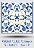 Majolica pottery tile, blue and white azulejo, original traditional Portuguese and Spain decor. Vector EPS 10 stock illustration