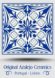 Majolica pottery tile, blue and white azulejo. Original traditional Portuguese and Spain decor, vector EPS 10 vector illustration