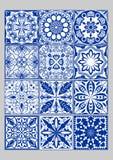 Majolica pottery tiles mega set, blue and white azulejos, original Portuguese and Spain decor. Vector EPS 10 stock illustration