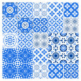 Majolica tile collection azulejo design. Blue pattern with national ornate set. Vector illustration. Majolica tile collection azulejo design. Blue pattern with vector illustration