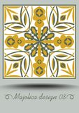 Majolica traditional ceramic tile in nostalgic ocher and olive green design with white glaze. Typical ceramic, azulejo. Portuquese pottery product with vector illustration