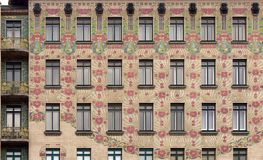 Majolika house in Vienna, Austria. The building`s façade is covered in ceramic tiles, known as majolica, in the form a floral pattern. It is an excellent Royalty Free Stock Photography