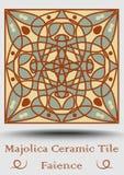 Majolikowa antyk płytka w beżu, oliwnej zieleni i czerwieni terakocie, Rocznik ceramiczna majolika Tradycyjny ceramiczny produkt  ilustracja wektor