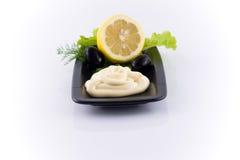 Majonäse mit Zitrone Stockbild