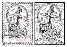 The major arcana tarot card. The chariot. The chariot. The major arcana tarot card, vintage hand drawn engraved illustration with mystic symbols. Warrior or vector illustration