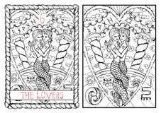 The major arcana tarot card. The lovers Royalty Free Illustration