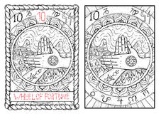 The major arcana tarot card. Wheel of fortune. Wheel of fortune.  The major arcana tarot card, vintage hand drawn engraved illustration with mystic symbols. Two Royalty Free Stock Photo