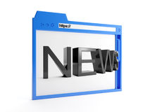 Major browser window. 3d illustration: major browser window, and news. Internet technology Stock Photos