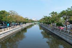 Major canal cutting through the heart of Bangkok, Thailand. Stock Image