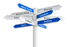 Major Cities of the World Crossroad Sign Stock Photography
