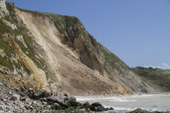 Major coastal landslide, Dorset,UK. Major cliff collapse landslide on the Jurassic coast, Dorset, UK destroying the coastal path and discolouring the sea Royalty Free Stock Photos