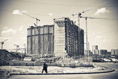 Major construction of residential complex. Royalty Free Stock Photos