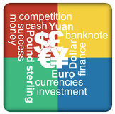 Major currencies, financial concept. Illustration with symbol and arrows Stock Photos