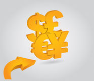 Major currencies, financial. Concept, illustration with symbol and arrows Royalty Free Stock Image