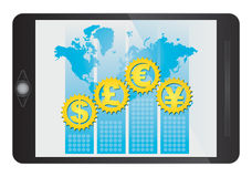 Major currencies symbol on tablet. Major currencies, financial concept, illustration with symbol on tablet screen Royalty Free Stock Photography
