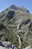 Major de Puig & estrada da montanha a Sa Calobra Fotos de Stock Royalty Free