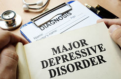 Major depressive disorder. Book with title Major depressive disorder Royalty Free Stock Photo