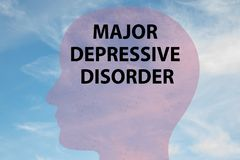 MAJOR DEPRESSIVE DISORDER concept. Render illustration of MAJOR DEPRESSIVE DISORDER title on head silhouette, with cloudy sky as a background stock illustration