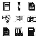 Major document icons set, simple style. Major document icons set. Simple set of 9 major document vector icons for web isolated on white background Stock Photo