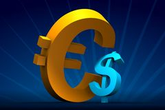 Major Euro minor Dollar. Rendered small Dollar and big Euro on dark-blue with rays on back royalty free illustration