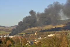 Major fire. In a textile factory, in Kirschau. 10/02/2014 Royalty Free Stock Photo