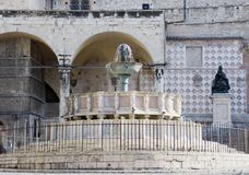 The Major Fountain, Perugia, Italy. The Major fountain (Fontana Maggiore) in Perugia, Italy. The sculptures, work of Nicola and Giovanni Pisano, descibe episodes Stock Image