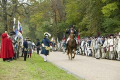 Major General Benjamin Lincoln on horseback rides down Surrender Road at the 225th Anniversary of the Victory at Yorktown, a reena Stock Photography