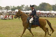 Major General Benjamin Lincoln on horseback at the 225th Anniversary of the Victory at Yorktown, a reenactment of the siege of Yor Royalty Free Stock Photo
