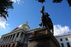 Major General Fighting Joe Hooker Series. Facing the statue from below, the state house can be seen in the left hand side of the image Royalty Free Stock Photos