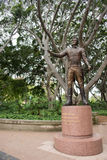 Major General Lachlan Macquarie statue: Hyde Park. SYDNEY,NSW,AUSTRALIA-NOVEMBER 19,2016: Major General Lachlan Macquarie bronze statue at Hyde Park with fig stock photo