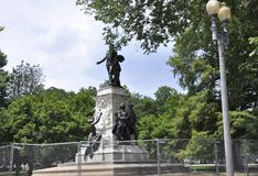 Marquis de Lafayette Statue from Washington District of Columbia USA. Major General Marquis Gilbert de Lafayette 1757-1834 Statue from Lafayette Square of stock images