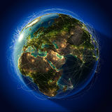 Major global aviation routes on Stock Photo