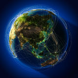 Major global aviation routes on Royalty Free Stock Images