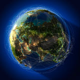 Major global aviation routes on Stock Images