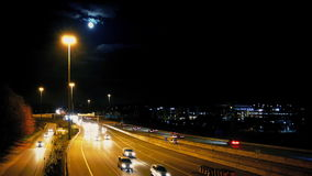 Major Highway At Night With måne stock video