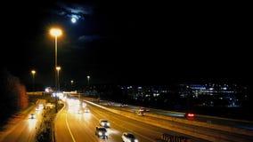 Major Highway At Night With måne arkivfilmer