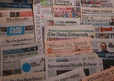 International newspaper. American and British newspapers Royalty Free Stock Images
