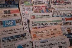 International newspaper. American and British newspapers royalty free stock photo