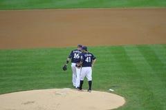 Major League Baseball Action. Major League Baseball, Colorado Rockies versus Milwaukee Brewers at Milwaukee, WI in Miller Stadium. Picture taken on April 21 Royalty Free Stock Image