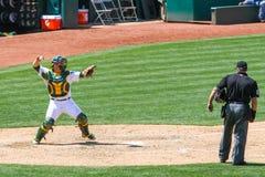 Major League Baseball - Catcher Throwing Ball Royalty Free Stock Photography