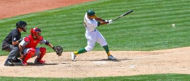 Major League Baseball - Chris Young Hits the Ball Stock Photography