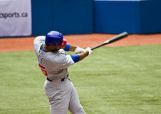 Major League Baseball: Derek Lee. Chicago Cubs vs. Toronto Blue Jays: Derek Lee swings at a pitch royalty free stock photo