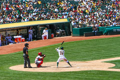 Major League Baseball - Eric Sogard Hitting Royalty-vrije Stock Afbeeldingen